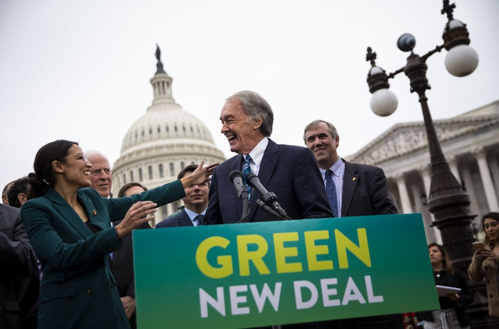 Ed Markey and Alexandria Ocasio-Cortez announce Green New Deal legislation in February.