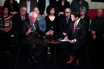 DETROIT, MI - MARCH 7:  Democratic Presidential Candidate Senator Bernie Sanders (D-VT) (left) gets questioned by Foc News host Brett Baer as he participates in a Fox News Democratic Town Hall March 7, 2016 in Detroit, Michigan. The Michigan Primary is March 8th. (Photo by Bill Pugliano/Getty Images) *** LOCAL CAPTION *** BERNIE SANDERS