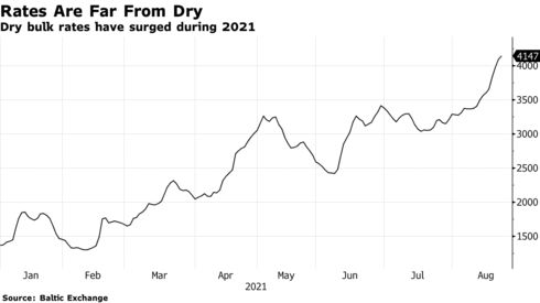 Dry bulk rates have surged during 2021