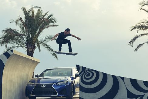 McGouran jumps a Lexus car with a hoverboard at the Barcelona skate park.