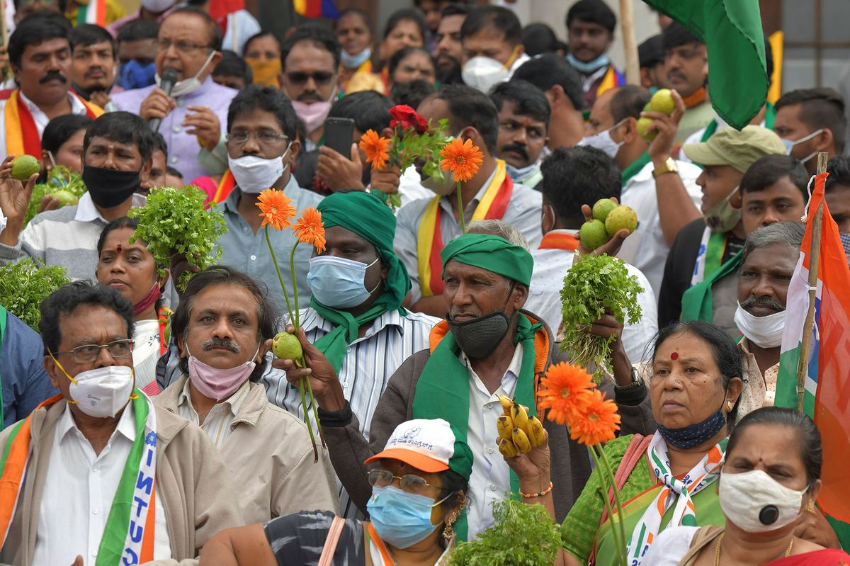Demonstrators take part in a protest during the nationwide strike in Bangalore on Dec. 8.