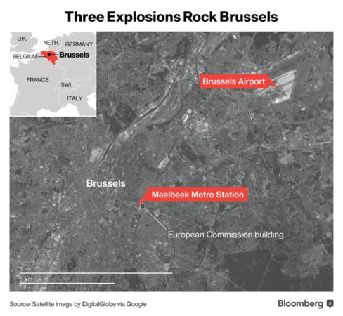 Map of Brussels Attacks.