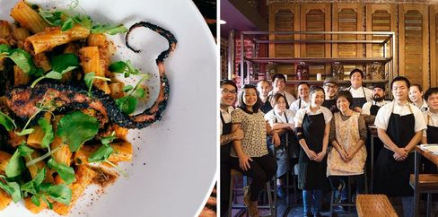 (Left) Octopus rigatoni, one of Andrew Le's more unusual Vietnamese-inspired creations. (Right) Loan Le, also known as Mama Le, poses in the middle with the whole Pig and the Lady crew.