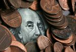 A portrait of Benjamin Franklin, printed on the face of U.S.