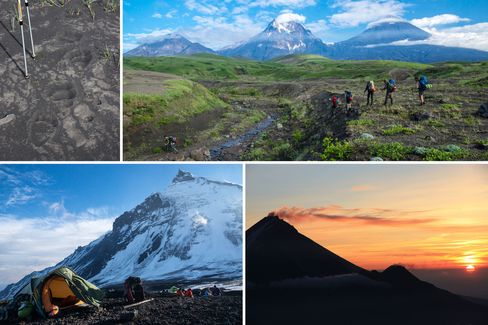 Clockwise from top left: More than 10,000 brown bears roam the region (their footprints are seen here); expert guides lead a maximum of 12 participants through the area's thermal springs and geysers; volcanic peaks at sunset; the group sleeps in tents on the volcanic plateaus.