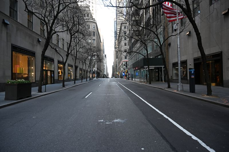 An empty street in Manhattan on Thursday.