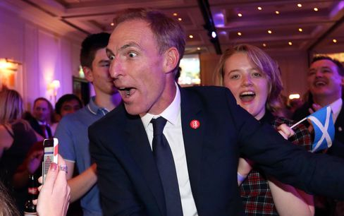 Jim Murphy, a lawmaker for the Labour party, reacts with fellow anti-independence Better Together campaigners as they celebrate their and