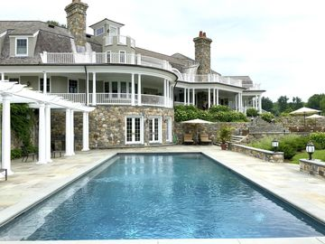 The house has a large pool.