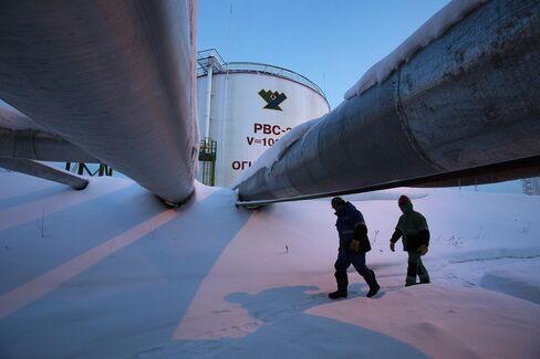Oil storage tank in Russia