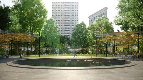 Digital rendering of Teresita Fernández's Fata Morgana in Madison Square Park.