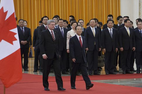 Prime Minister Stephen Harper and Premier Wen Jiabao