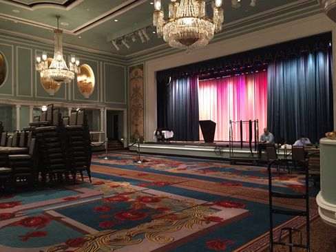 The Trianon Ballroom at the New York Hilton Midtown is staged for Donald Trump's speech tomorrow where he will announce his vice presidential candidate at 11 a.m.