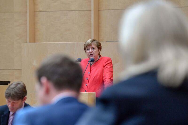Angela Merkel speaks about the German EU Council Presidency on July 3.