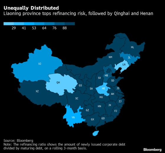 China Inc. Credit Stress Most Acute in Liaoning, Qinghai