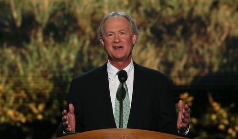 Rhode Island Governor Lincoln Chafee speaks during the Democratic National Convention on Sept. 4, 2012, in Charlotte, N.C.