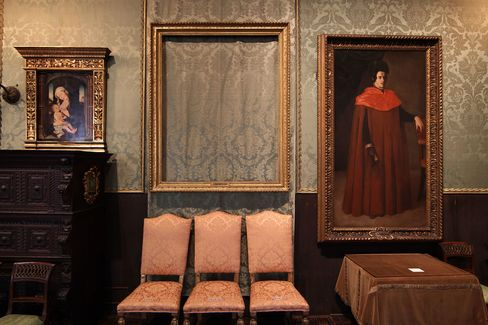 An empty frame in the Isabella Stewart Gardner Museum in Boston, where 13 paintings were stolen in 1990.