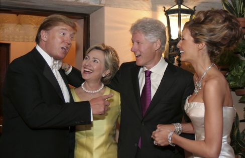Newlyweds Donald Trump Sr. and Melania Trump with Hillary Rodham Clinton and Bill Clinton at their reception held at The Mar-a-Lago Club in January 22, 2005 in Palm Beach, Florida.