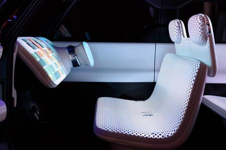 The interior of Nissan's Teatro for Dayz concept vehicle is seen at the Tokyo Motor Show.