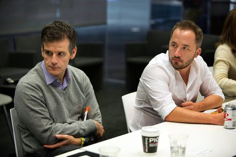 Dennis Woodside, chief operating officer of Dropbox, left, and Drew Houston, chief executive officer and co-founder of Dropbox.
