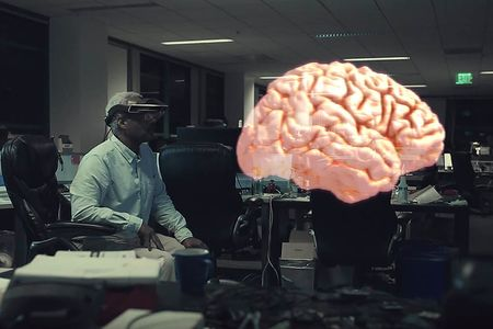 An interactive model of the brain as seen through the Meta 2 headset. Source: Meta