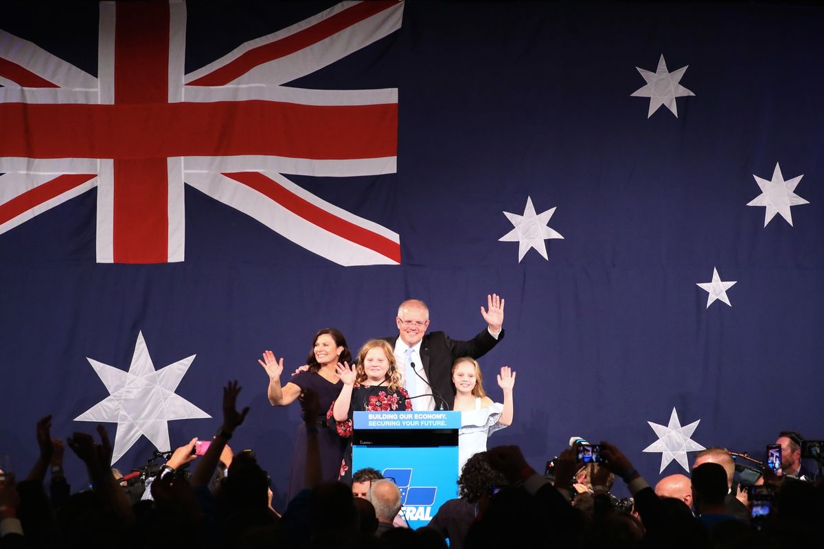 Scott Morrison with his family during an election night event in Sydney on May 18.