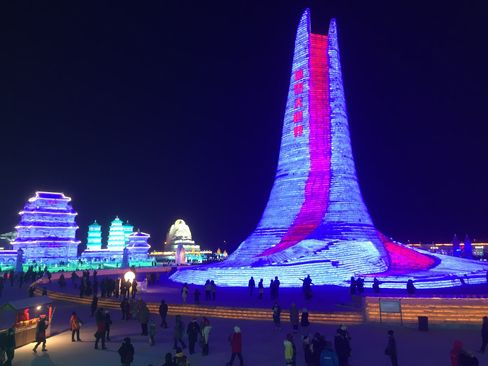 Visits to the annual ice festival in Harbin jumped about 16 percent from last year, to more than 300,000.