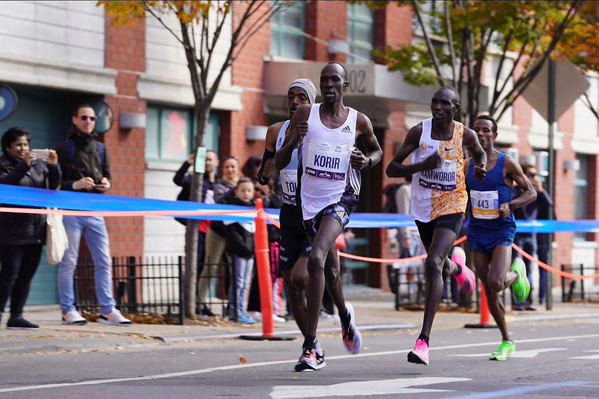 Albert Korir of Kenia, Tamirat Tola of Ethopia, Geoffrey Kamworor of Kenia and Girma Bekele Gebre of Ethiopia during 2019 TCS New York City Marathon, Nov. 3.