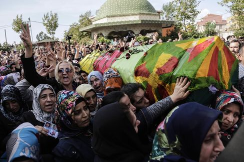 Relatives hold up the coffin during the funeral for an Ankara blast victim
