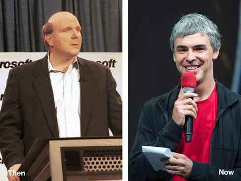 L-R: Steve Ballmer, 2000; Larry Page, 2013