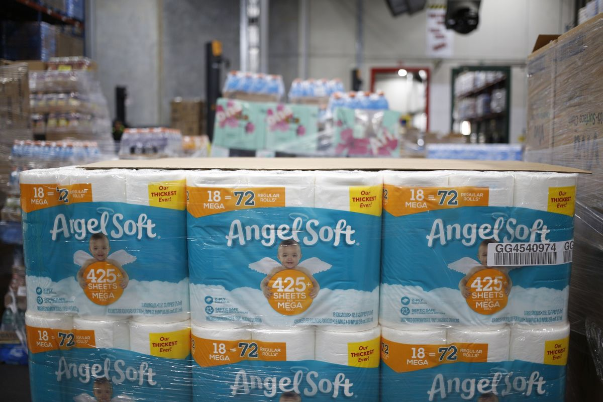 Packages of toilet paper sit on a pallet at a Kroger distribution center in Kentucky in March.