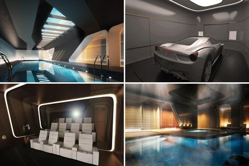 Renderings of New York's media room, pool at the shared spa, and building's robotic garage.