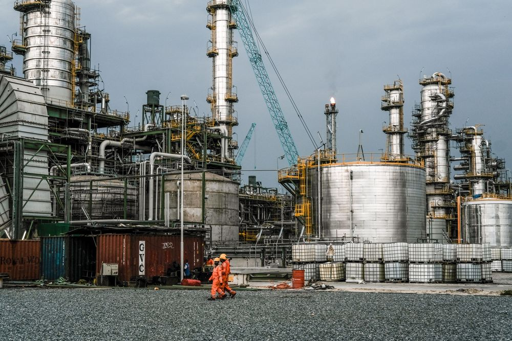 The under-construction Dangote Industries oil refinery and fertilizer plant site in the Ibeju Lekki district, outside of Lagos, Nigeria, on March 6.
