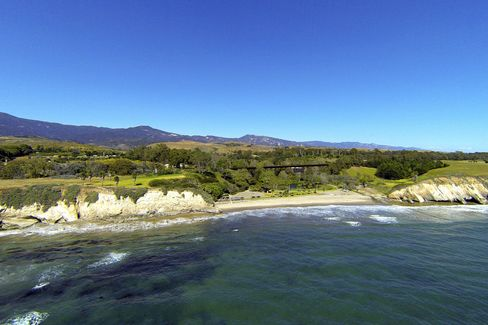 A view of the $50 million Dos Pueblos ranch, with sandy beach and picturesque train trestle.