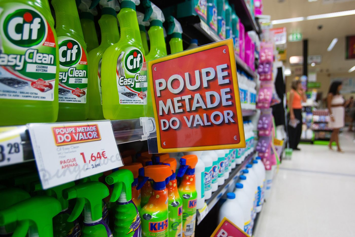 Cif cleaning products sit for sale inside a supermarket in Lisbon. Photographer: Mario Proenca/Bloomberg