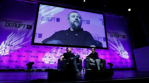 Shane Smith, co-founder and chief executive officer of Vice Media Inc., left, speaks during the TechCrunch Disrupt NYC 2014 conference in New York.