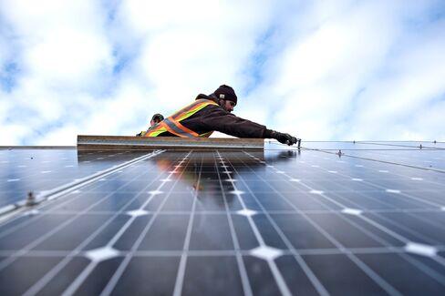 Solar panel during construction in St. Ansgar, Iowa.