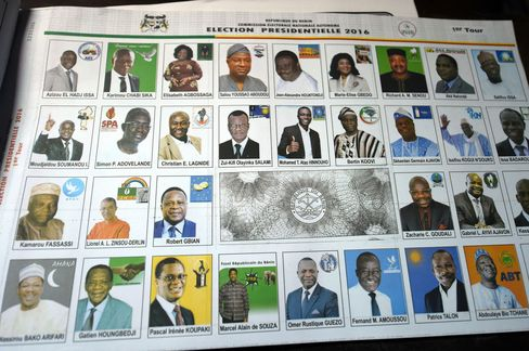 A ballot with photographs of the presidential candidates at a polling station in Cotonou