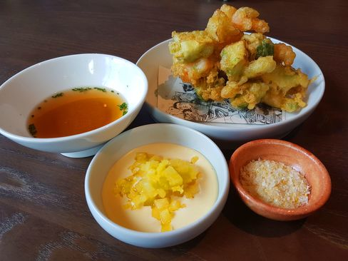 Prawn and avocado tempura.