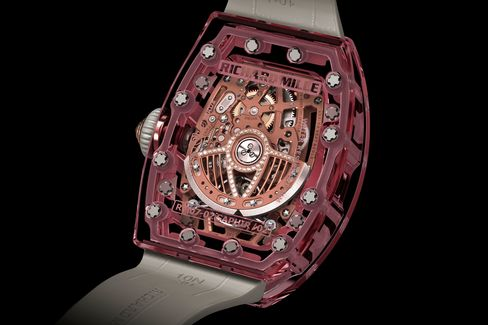 The movement shows the high-tech engineering found in all of Mille's watches.