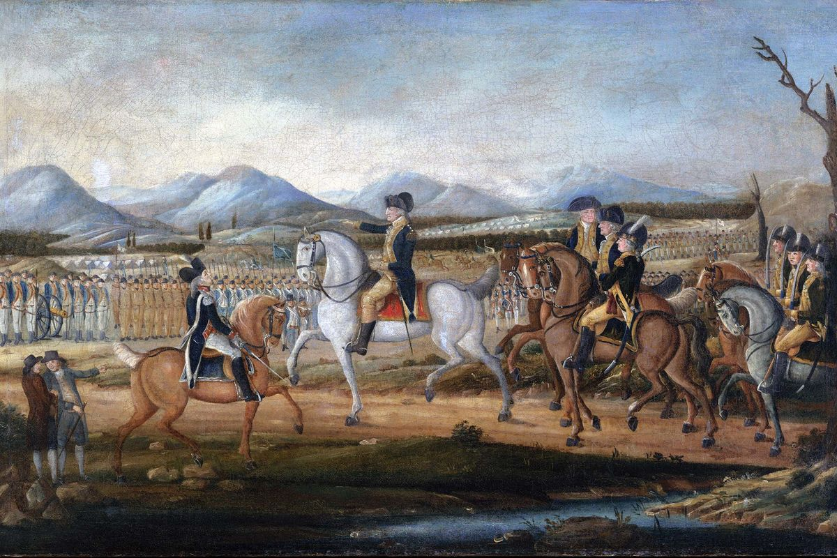 Washington Reviewing the Western Army at Fort Cumberland, Maryland, attributed to Frederick Kemmelmeyer. In 1794, George Washington led militia troops against the Whiskey Rebellion.