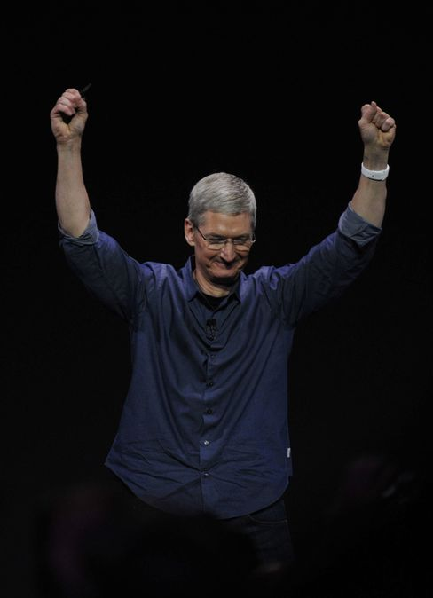 Tim Cook, chief executive officer of Apple, after unveiling the Apple Watch during a product announcement at Flint Center in Cupertino on Sept. 9, 2014.