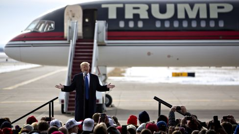 Donald Trump speaks during a campaign rally at Dubuque Regional Airport in Dubuque, Iowa, on Jan. 30, 2016.
