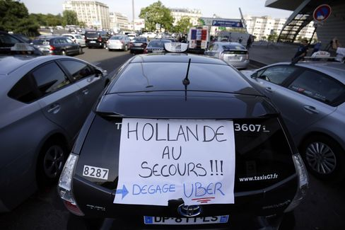 Taxi Demonstration in Paris Today
