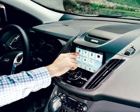 The screen's large icons let drivers switch easily from maps to music. Ford's putting volume and temperature knobs and dials back on the dash.