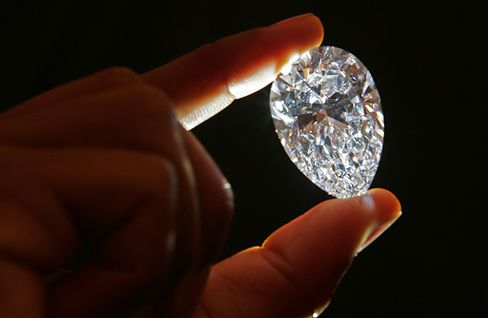 A 76.41cts flawless diamond cut from the 15th largest diamond (603ct) in the world called The 'Lesotho Promise', found at the Letseng Diamond Mine.