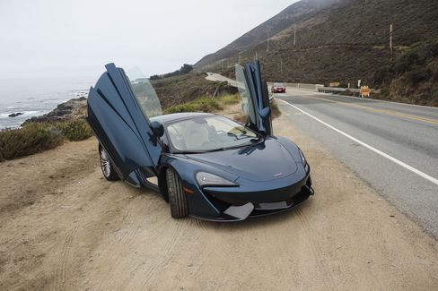 The Pacific Blue color of the 570GT is a new look for McLaren, which is known for its orange racing hue.