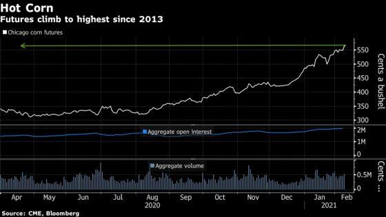 Corn Climbs to Fresh Seven-Year High on U.S. Stockpile Outlook