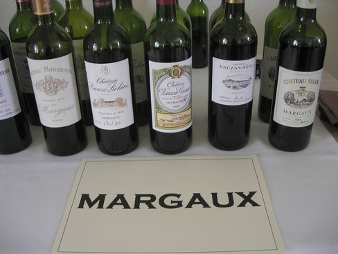 A line-up of some of the wines from the Margaux, Moulis, Listrac, and Medoc appellation.