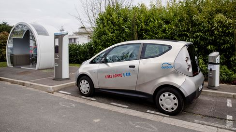 An Autolib' electric Bluecar at a charging station in Vaucresson, France.