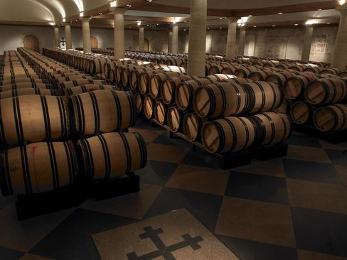 The 1,000-square-meter cellar of Château La Mission Haut Brion, where current wines are aged.